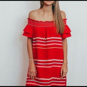 Red dress with Ric Rac details